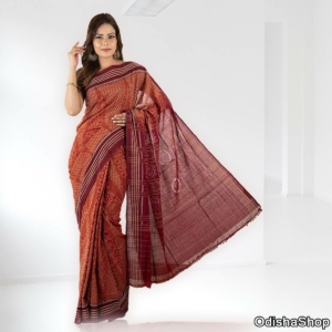 Sambalpuri Cotton Saree Light Maroon