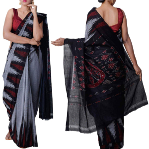 Odisha Handloom Sambalpuri Cotton Saree Grey