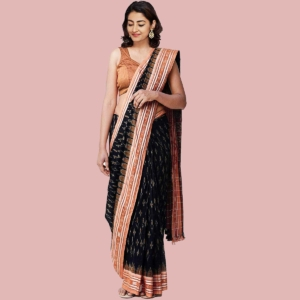 Sambalpuri Handloom Cotton Saree with Ikat Weaving Black and Maroon 1