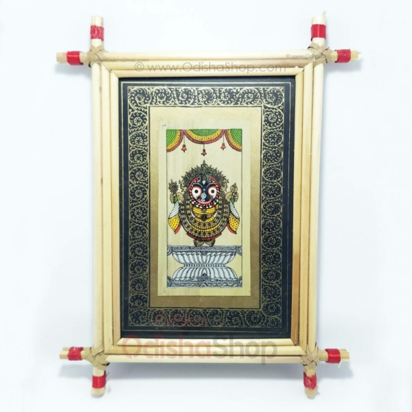 Palm Leaf Pattachitra Painting of Jagannath Wall Crafted in Raghurajpur