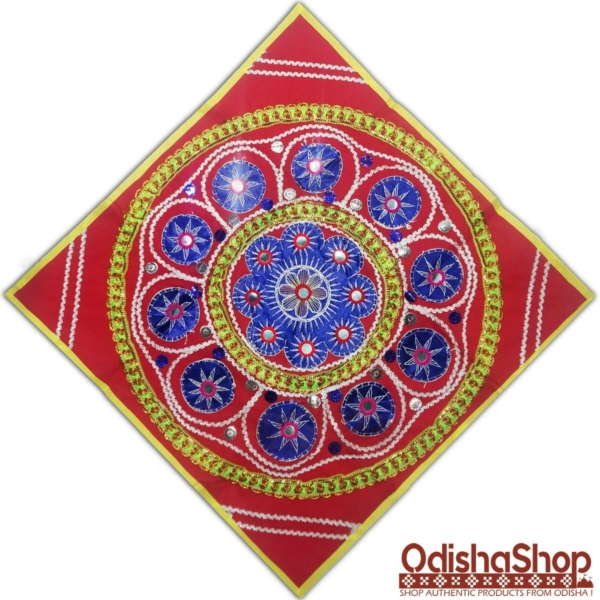 Abstract Design Pipili Chandua Blue Color With Red Background
