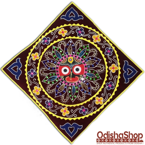 Jagannath Pipili Chandua Handcrafted Wall Hanging Applique Work Deep Red Background