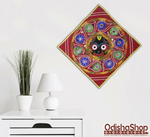 Multicolor Pipili Chandua Shree Jagannath Idol With Red Background
