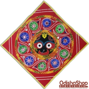 Odisha Pipili Chandua Shree Jagannath Idol With Red Background