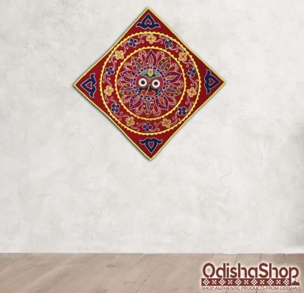 Pipili Chandua Jagannath Idol Design With Red Background For Home Decor