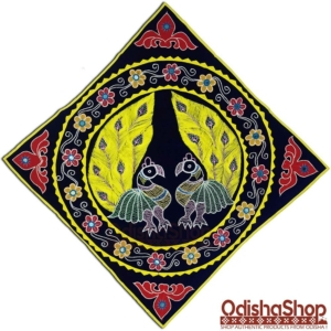 Wall Hanging Handicrafted Pipili Applique Work Chandua Double Peacock Blue Background