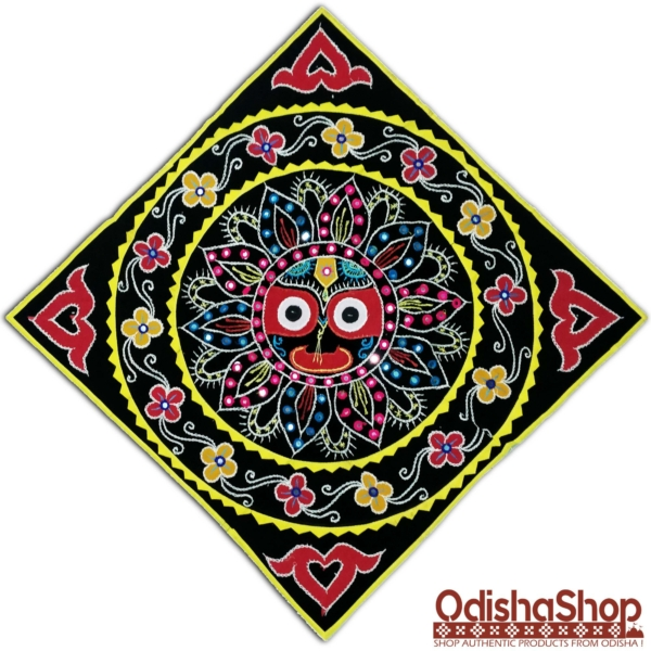 Wall Hanging Handicrafted Pipili Applique Work Chandua Lord Jagannath Black Background