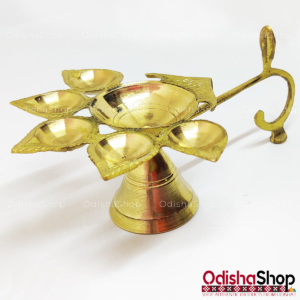 Brass 5 Diya Stand For Arati