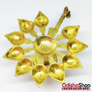 Brass Diya Ten 10 Face Aarti Pooja Stand