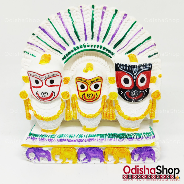 Chaturdha Murti Jagannath Balabhadra Subhadra Sudarshan Idol On Hastikasana in Marble from OdishaShop