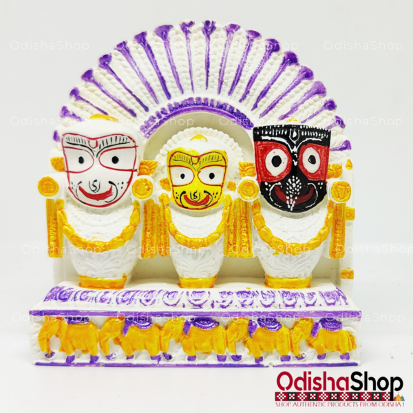 Chaturdha Murti Jagannath Balabhadra Subhadra Sudarshan Idol On Hastikasana in Marble from OdishaShop - Yellow Purple