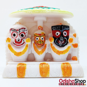 Marble Art Lord Jagannath, Balabhadra and Subhadra Decorative Showpiece - Stoneware