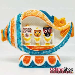 Chaturdha Murti Jagannath Idol Inside Sankha - Orange Blue