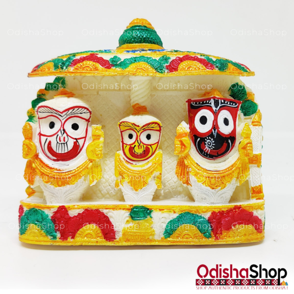Chaturdha Murti Jagannath Idol On Ratna Singhasana in Marble from OdishaShop Multicolor Deep Yellow Red