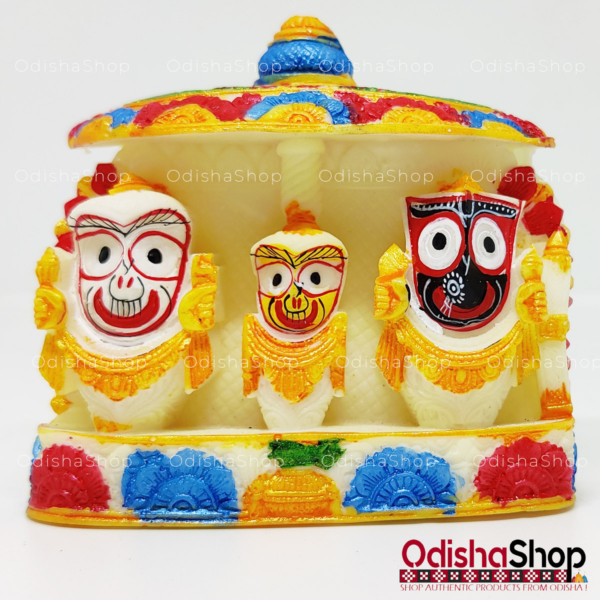 Chaturdha Murti Jagannath Idol On Ratna Singhasana in Marble from OdishaShop Multicolor Flower
