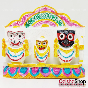 Chaturdha Murti Jagannath Idol in Marble from OdishaShop Deep Green - Yellow