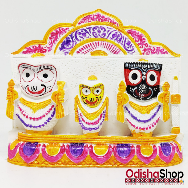 Chaturdha Murti Jagannath Idol in Marble from OdishaShop Deep Yellow - Pink