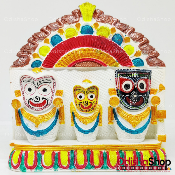 Chaturdha Murti Jagannath Idol in Marble from OdishaShop Multicolor Red Green