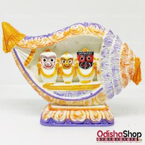 Chaturdha Murti Jagannath Idol inside Shanka Singhasana in Marble from OdishaShop Multicolor Deep Yellow Velvet