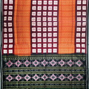Sambalpuri Cotton Saree Light Maroon Color With Black Border - Sambalpuri Handloom By OdishaShop