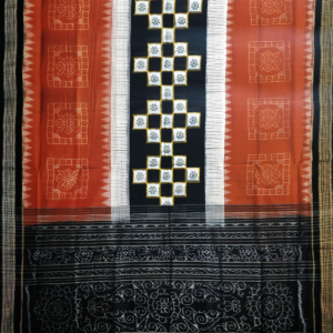 Sambalpuri Handloom Cotton Saree Black Color Matha Color